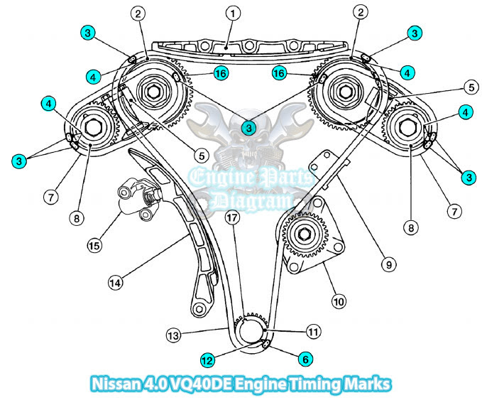 2005 nissan xterra timing marks diagram 4 0 vq40de engine rh enginepartsdiagram com 2008 Nissan Xterra Engine Diagram 2004 Nissan Xterra Parts Diagram