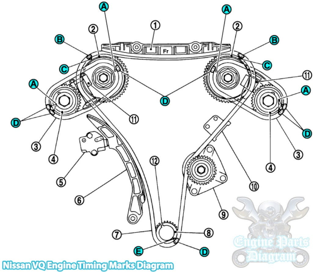 2003-2007 Infiniti G35 Timing Marks Diagram 3.5L VQ35 Engine on fuse box diagram, front end assembly diagram, ignition coil diagram, fuel system diagram, rear suspension diagram, fuel line diagram, fuel pumps aeromotive 340 hp, carburetor diagram, camshaft diagram, fuel regulator diagram, fuel tank diagram,