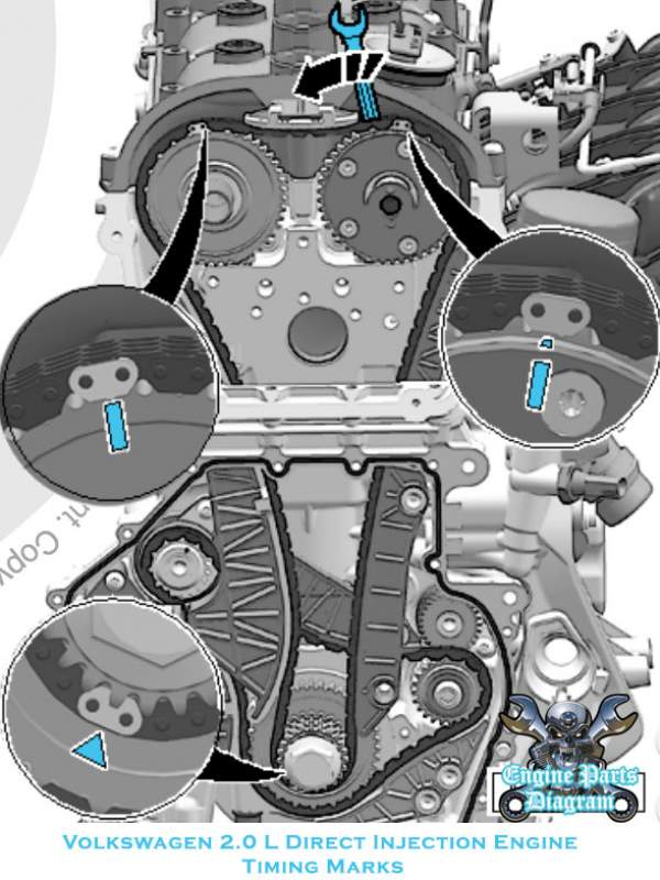 2010-2014 VW Volkswagen Golf Timing Marks Diagram (2.0L Engine)Engine Parts Diagram