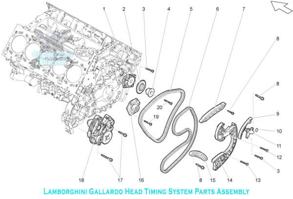 lamborghini engine diagram    lamborghini    gallardo    engine    head timing system part assembly     lamborghini    gallardo    engine    head timing system part assembly