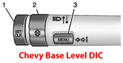 chevy tpms reset button base