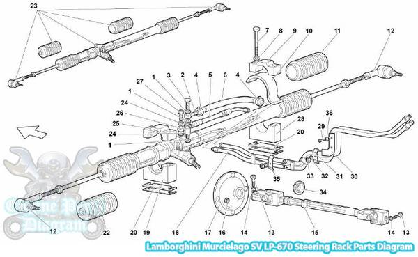 Lamborghini Murcielago Steering Rack Parts Diagram (SV LP670)